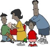 familjshopping vektor illustrationer