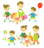 Familjshopping, picknick vektor illustrationer