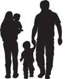familjsilhouette Arkivfoto