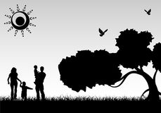 familjsilhouette royaltyfri illustrationer