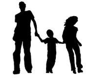 familjsilhouette stock illustrationer