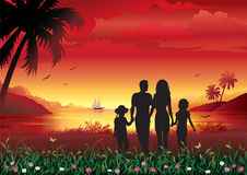 familjsilhouette Arkivbild