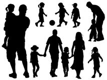 familjsilhouettes Arkivfoto