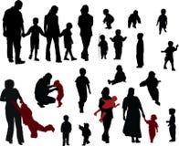 familjsilhouettes Arkivbild
