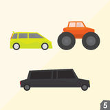 Familjskåpbil, gigantisk lastbil och limousine Arkivbilder