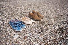 Familjskor på strandhavskusten 8640 Royaltyfria Bilder