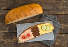 Familjsmörgås för tre Arkivbilder