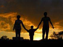 familjsolnedgång Royaltyfri Fotografi