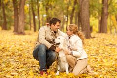 Familjstående av den unga mannen och kvinnan med hans hundlabrador I Royaltyfria Foton