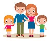 Familjstående av föräldrar och deras barn stock illustrationer