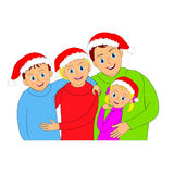 Familjstående för lycklig jul Moder, fader, son och dotter Arkivbilder