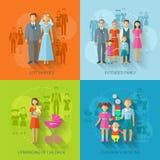 Familjsymbolslägenhet royaltyfri illustrationer