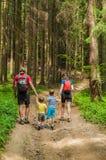 Familjtur i rumänsk skog Fotografering för Bildbyråer