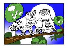 Familjugglor som färgar boken vektor illustrationer