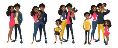 Familjuppsättning med mamman, farsa, ungar stock illustrationer