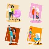 Familjuppsättningföräldrar med småbarnmorföräldrar stock illustrationer