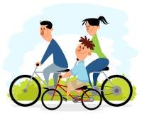 Familjutflykt på cyklar stock illustrationer