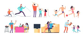 Familjutgiftertid tillsammans Utomhus- mamma, farsa och barn som är hemmastadda och Uppsättning för vektortecknad filmtecken royaltyfri illustrationer