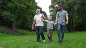 Familjutvecklingsbegrepp: fader, son och farfar, utomhus, i naturen som tillsammans tycker om deras kvalitets- tid, stock video
