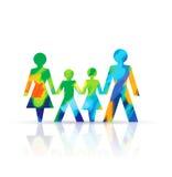 Famille à chaînes de papier illustration stock