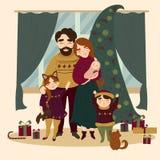 Famille à Noël tenant l'arbre de Noël proche illustration stock
