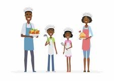 Famille africaine faisant cuire - les caractères de personnes de bande dessinée ont isolé l'illustration Photo stock