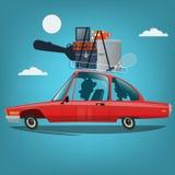 Famille allant vacation en la voiture Illustration de vecteur de concept de voyage dans le style de bande dessinée Photographie stock