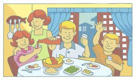 Famille au mealtime illustration de vecteur