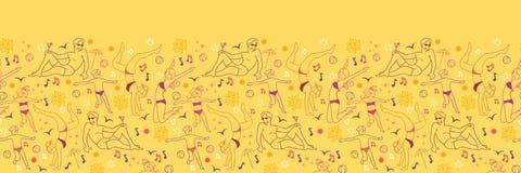 Famille au modèle sans couture horizontal de plage Photo libre de droits
