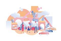 Famille avec des choses d'achat d'enfant en ventes dans les magasins illustration libre de droits