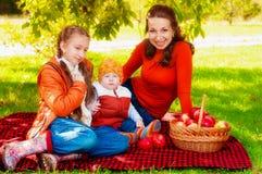 Famille avec des enfants en parc en automne photographie stock libre de droits