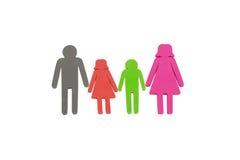 Famille avec deux enfants comme chiffres - image courante Images stock