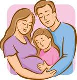 Famille avec la fille (couleur) Image stock