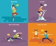 Famille avec la vie active de sport d'enfants illustration stock