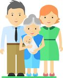 Famille avec le bébé et la grand-mère Photos stock