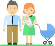 Famille avec le bébé et le promeneur Photographie stock libre de droits