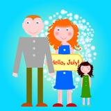 Famille avec le conseil Bonjour, citation de juillet Photos libres de droits