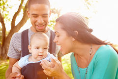 Famille avec le fils de bébé dans le transporteur marchant par le parc Image libre de droits