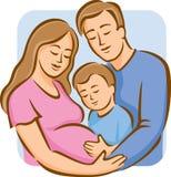 Famille avec le garçon (couleur) Image libre de droits