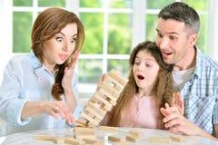 Famille avec les blocs en bois Image stock