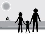 Famille ayant des vacances sur le bord de la mer Chiffre fond de bâton illustration de vecteur