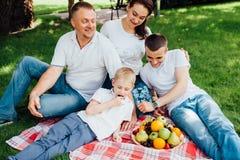 Famille ayant l'amusement à un pique-nique Images libres de droits
