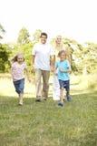 Famille ayant l'amusement dans la campagne Photos stock