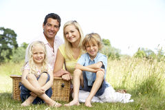 Famille ayant le pique-nique dans la campagne Photo stock