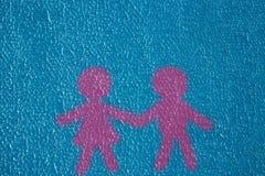 Famille bleue non égale barbelée de femme d'homme de rose d'amour d'étoile d'extérieur de mastic de plâtre de mur de texture de f Photo libre de droits