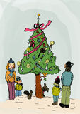 Famille célébrant Noël dehors Images libres de droits