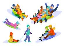 Famille, couple, homme, femme, enfants, fille, neige sledding de garçon en descendant réglée illustration de vecteur