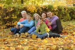 Famille détendant en parc d'automne Photographie stock
