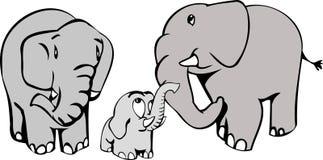 Famille d'éléphant Images libres de droits