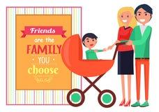 Famille d'amis vous choisissez l'affiche de graphique de vecteur Photographie stock